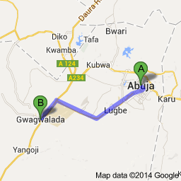 Map Abuja to Gwagwalada
