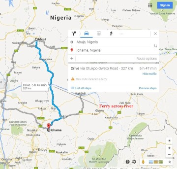 Abuja to Ichama:  6 hours drive time.  About the same as Detroit o Louisville, KY