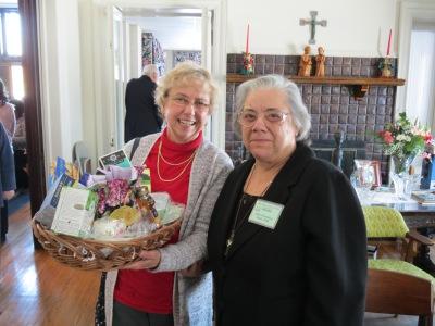 Lorraine Smith, happy winner of tea raffle, and Sister Rosemarie Abate, HVM