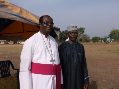 Bishop Michael Apochi and parish laity chairman