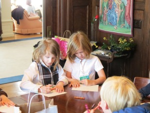 Young lady artists at work