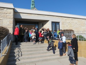 Lined up at Cathedral back door