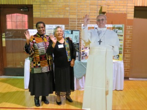 Waving good bye! Sr. Laura Marie, HVM, Martha Lum, HVM Associate, & special guest